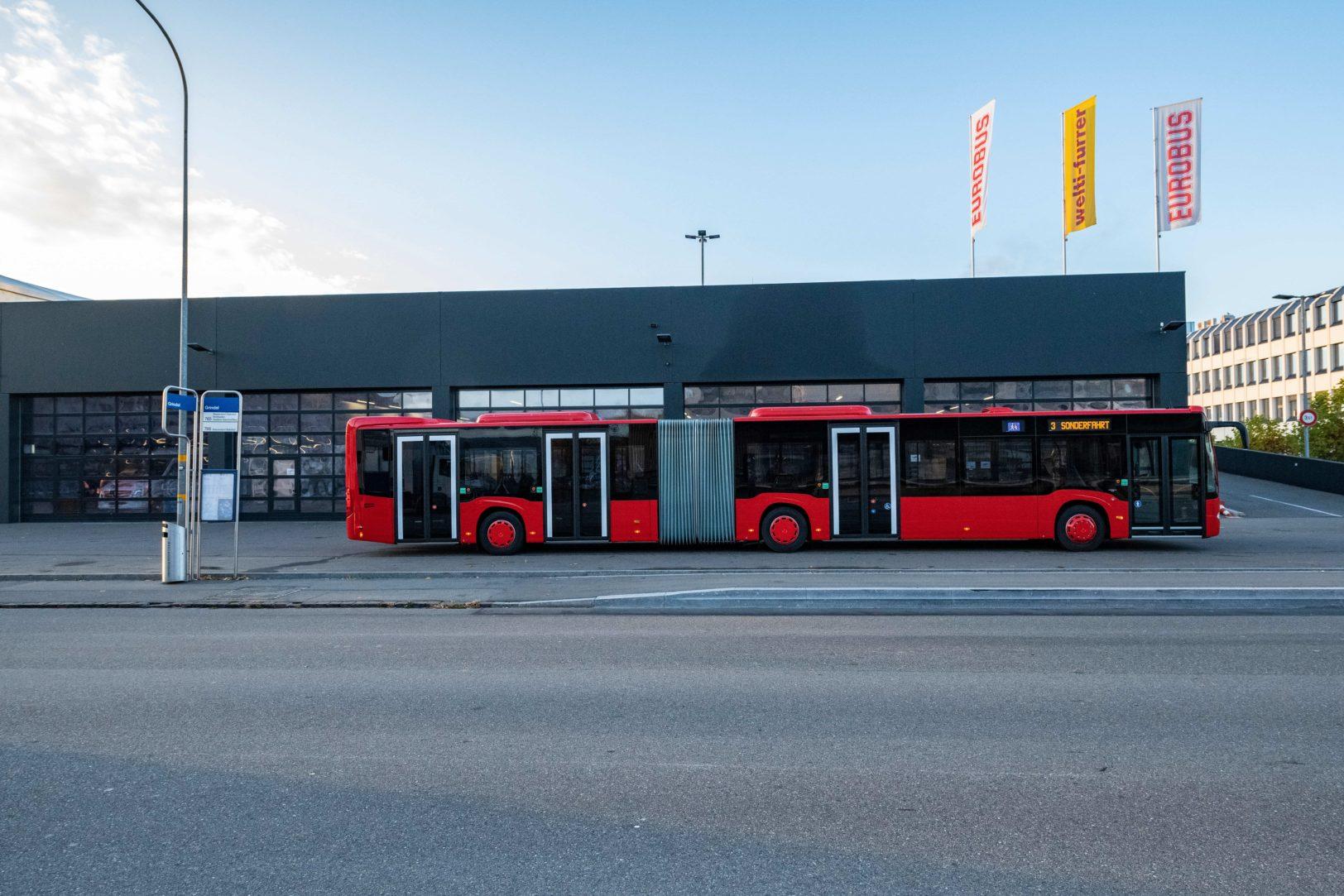 Chur Bus vor der Fahrt von Kloten nach Chur