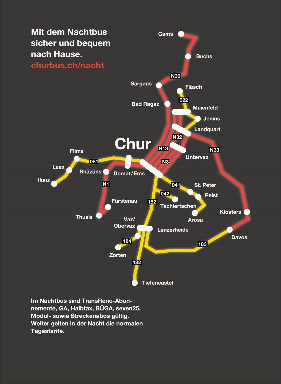 Nachtbus Linienplan